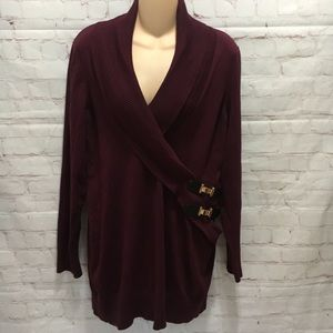 INC maroon faux wrap shawl collar sweater buckles
